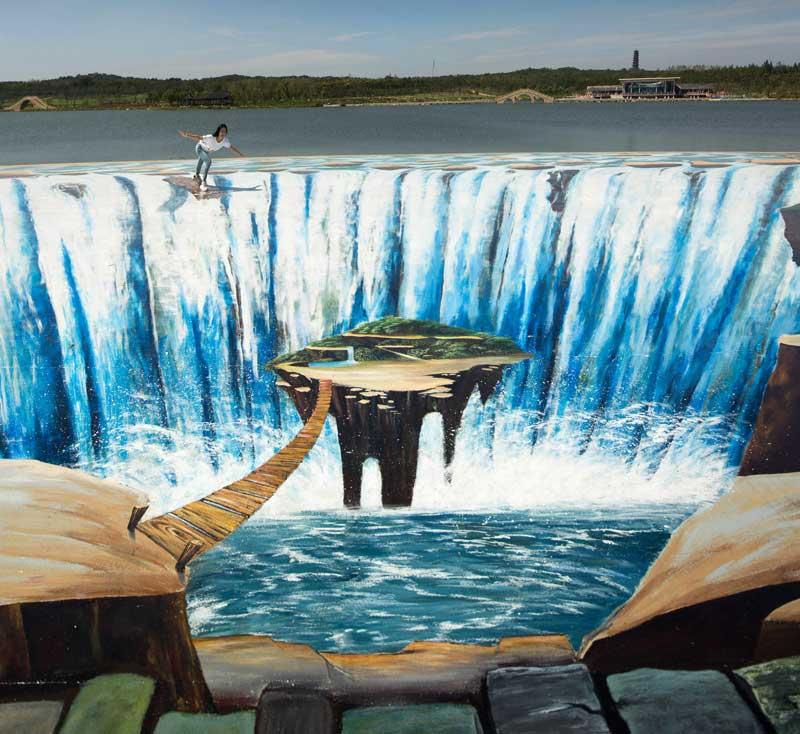 宿迁3d瀑布_上海墙绘,上海手绘墙,上海壁画(彩绘,个性